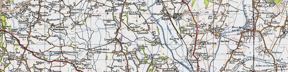 Old map of Queenhill in 1947