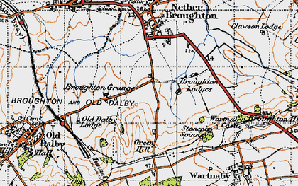 Old map of Queensway Old Dalby in 1946