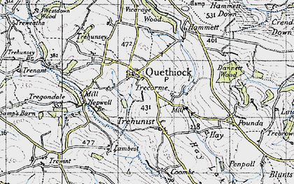 Old map of Quethiock in 1946