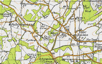 Old map of Ashampstead Common in 1947