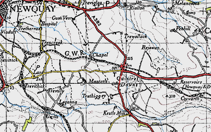 Old map of Quintrell Downs in 1946