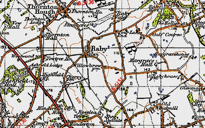 Old map of Raby in 1947
