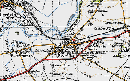 Old map of Radcliffe on Trent in 1946