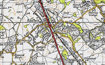 Old map of Radlett in 1946