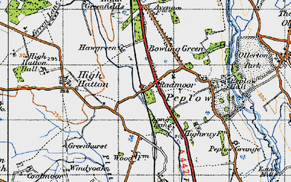 Old map of Peplow in 1947
