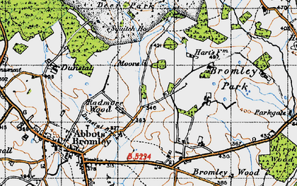 Old map of Bagot's Park in 1946