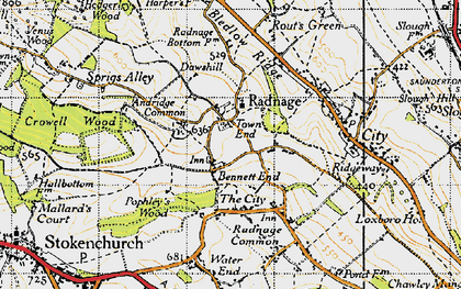 Old map of Radnage in 1947