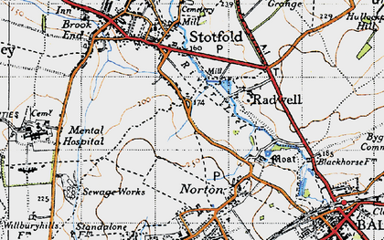 Old map of Radwell in 1946