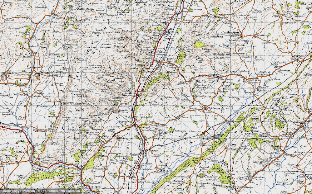 Old Map of Ragdon, 1947 in 1947