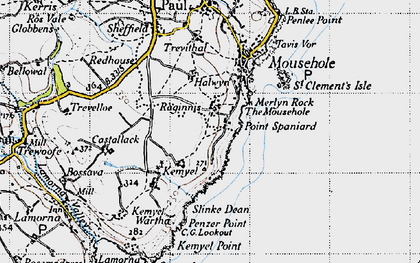 Old map of Raginnis in 1946