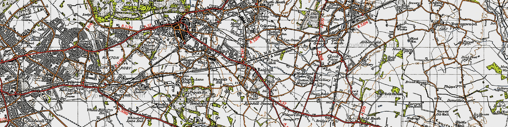 Old map of Rainhill in 1947