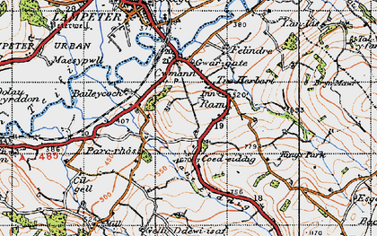Old map of Cefn-bryn in 1947