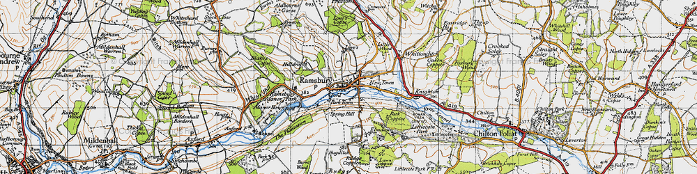 Old map of White's Hill in 1940
