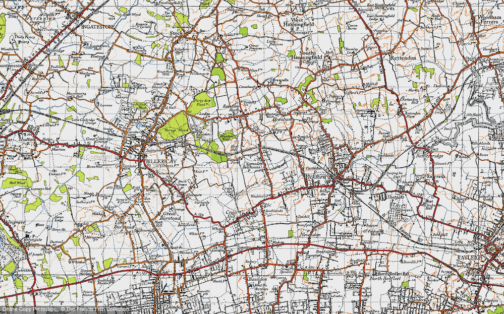 Old Map of Ramsden Bellhouse, 1945 in 1945