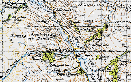 Old map of Ramsgill in 1947