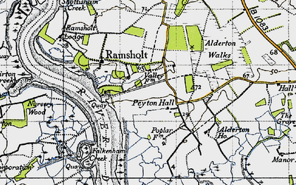 Old map of Alderton Ho in 1946