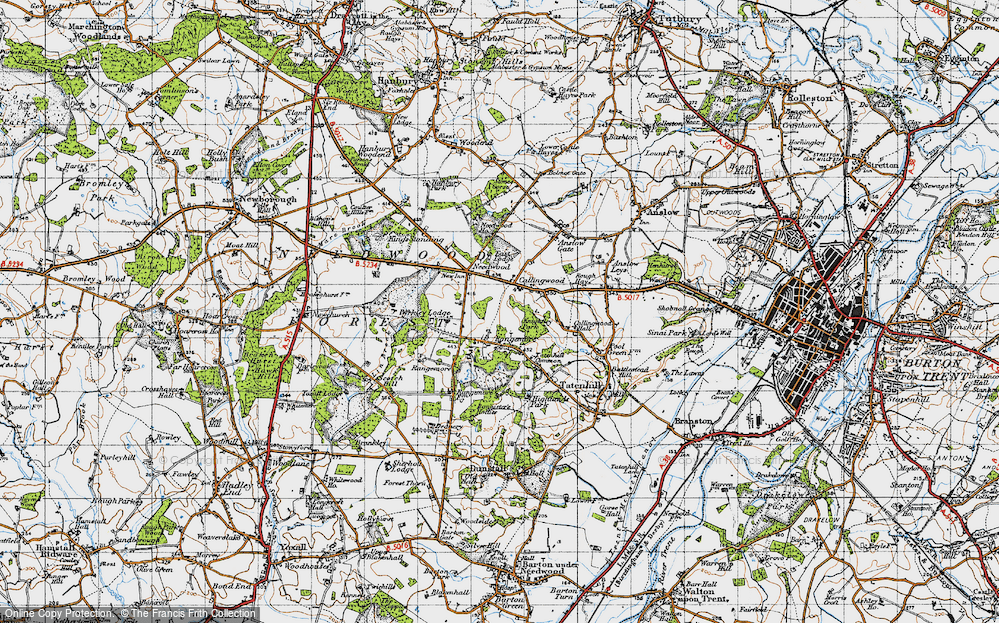 Old Map of Historic Map covering Lin Brook in 1946