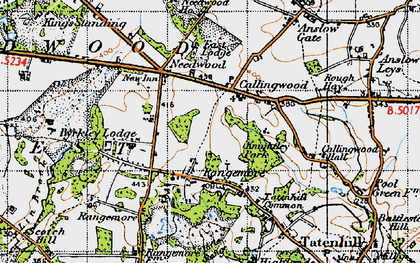 Old map of Lin Brook in 1946