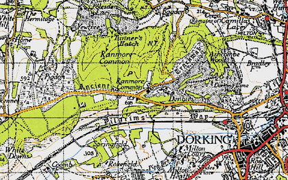 Old map of Ranmore Common in 1940