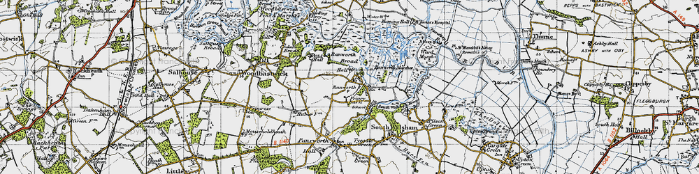 Old map of Ranworth in 1945