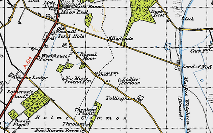 Old map of Tollingham in 1947