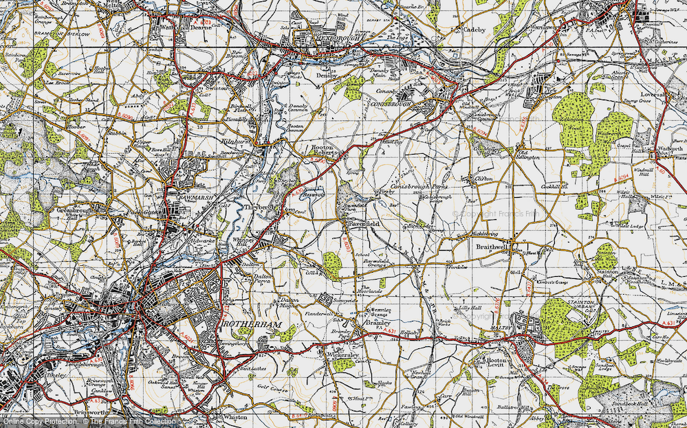 Map of Ravenfield, 1947 - Francis Frith