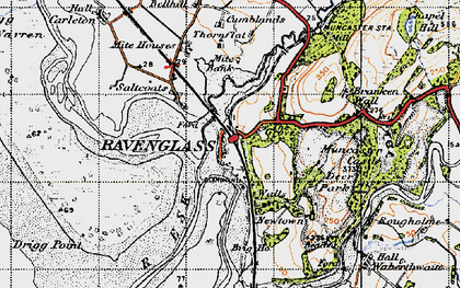 Old map of Ravenglass in 1947