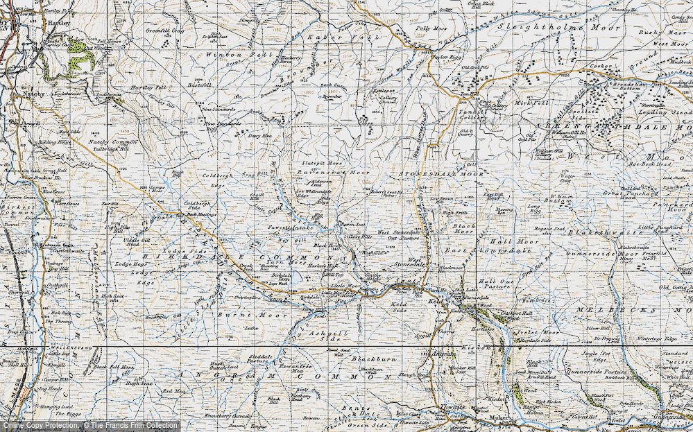 Old Map of Historic Map covering Alderson Seat in 1947