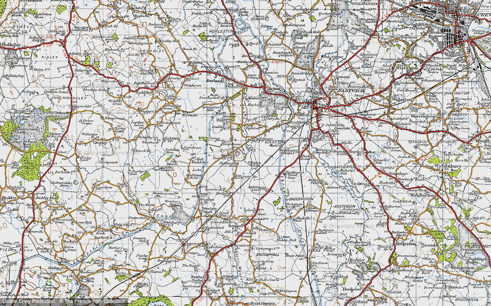 Old Map of Historic Map covering Baddiley Corner in 1947