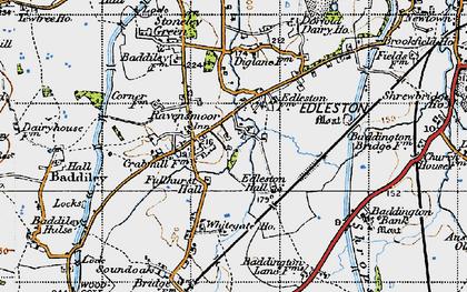Old map of Baddiley Corner in 1947