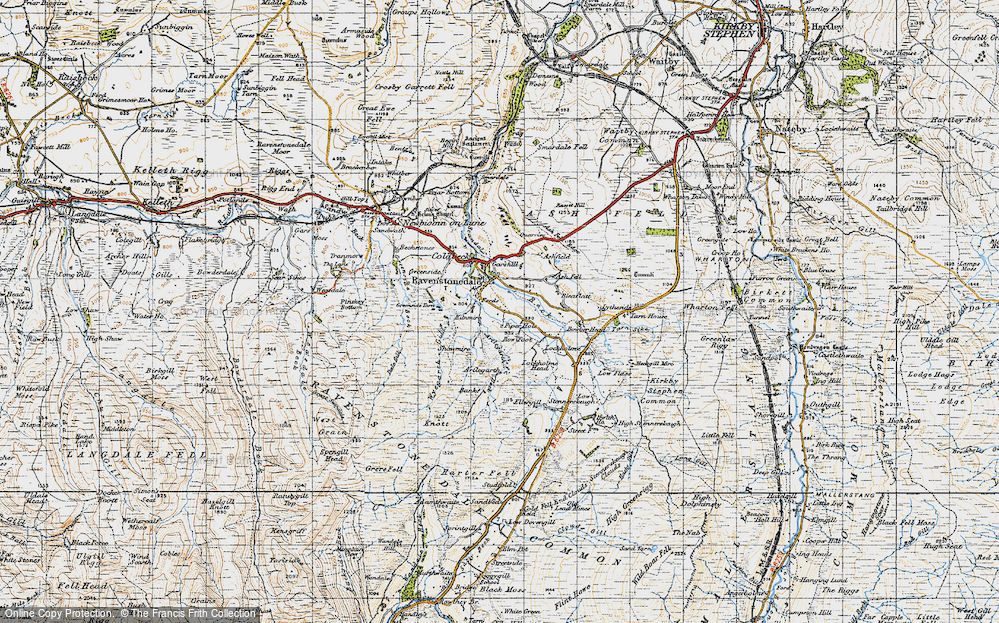 Old Map of Historic Map covering Ash Fell in 1947