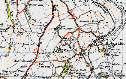 Old map of Latter Gate Hills in 1947