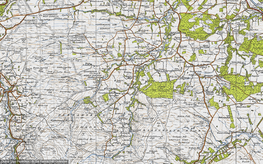 Old Map of Historic Map covering Aydon Shields in 1947