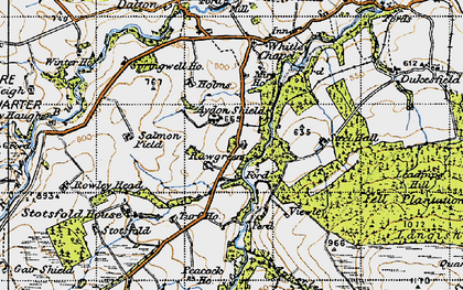 Old map of Aydon Shields in 1947