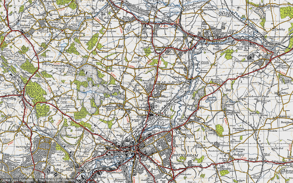 Old Map of Rawmarsh, 1947 in 1947