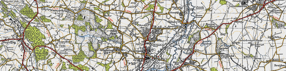 Old map of Rawmarsh in 1947