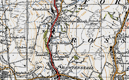 Old map of Rawtenstall in 1947