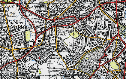 Old map of Raynes Park in 1945