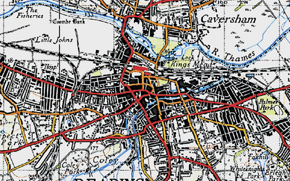 Old map of Reading in 1940