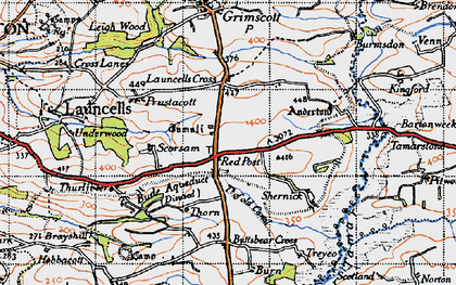 Old map of Launcells Barton in 1946