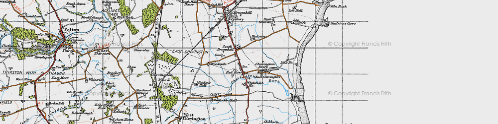 Old map of Red Row in 1947