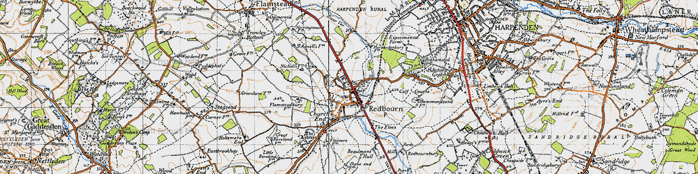 Old map of Redbourn in 1946