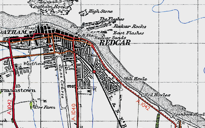 Old map of Redcar in 1947