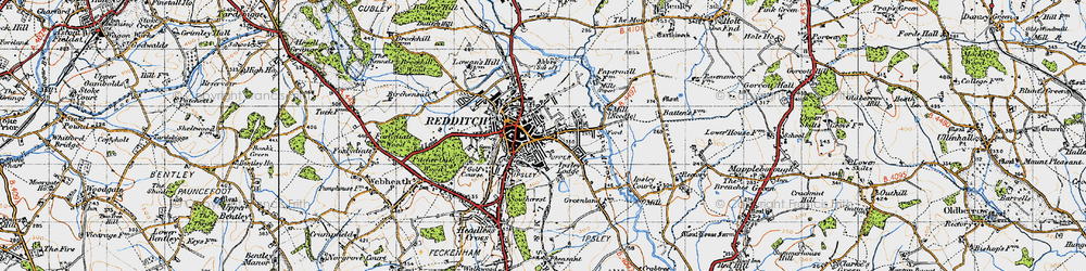 Old map of Redditch in 1947
