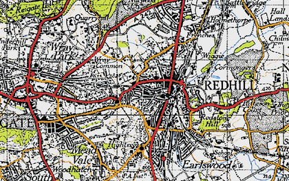 Old map of Redhill in 1940