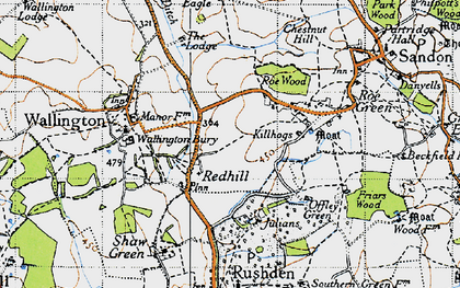 Old map of Redhill in 1946