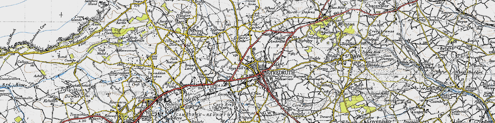 Old map of Redruth in 1946