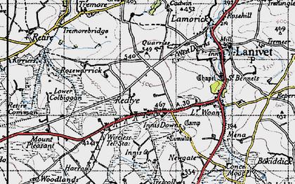 Old map of Redtye in 1946