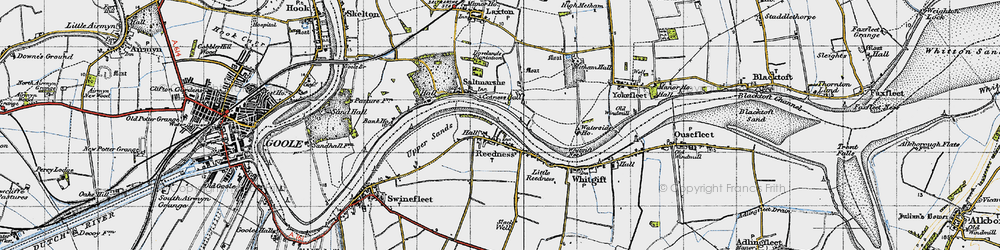 Old map of Whitgift Ness in 1947