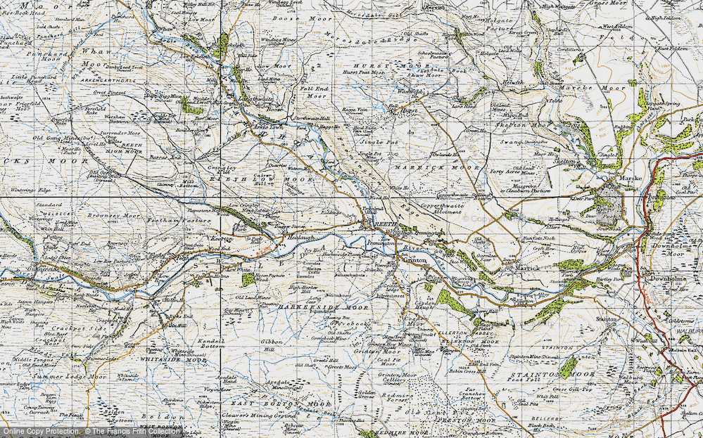 Old Map of Historic Map covering Swaledale in 1947